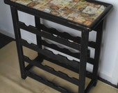 Vintage French wine rack bottle storage painted distressed finish Graphite grey rustic industrial-chic