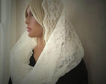 Ivory Lace Infinity Eternity Veil Mantilla Chapel Veil Trad Catholic