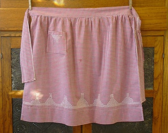 Vintage Maroon and White Gingham Half Apron, Gathered Waist, One Pocket, Square Sash, Kitchen Cooking Apron, Old Farmhouse Country Apron