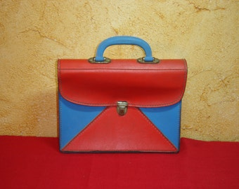 Cartable. Red blue School bag. Sac d'école vintage. France