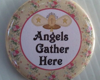 "Christian Angel Button -  2.25"" Button -  Magnet - or Mirror - Great Gift Item for Pastor's Wife or Secret Sister"