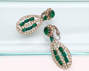 Vintage 1950's Emerald Green and Clear Rhinestone Earrings, Clip On Backs, Teardrop Shape