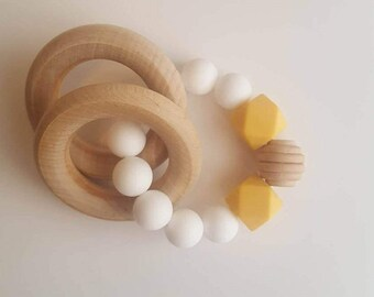Teething Toy/Silicone teether/Wooden teether/Wooden Rattle