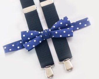 navy polka dots bow tie & black suspenders, wedding boys bowtie and suspenders, ring bearer outfit