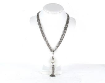 Vintage Silver Tone Multi Strand Chain Choker Necklace With Tassel Pendant