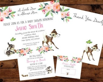 Bambi Deer Baby Shower Invitation Set