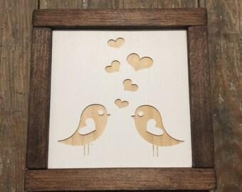 Lovebirds Mini Engraved Wood Sign