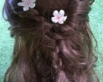 2UD forks with flor d'ametler romantic type. 2UD hair pin, bobby pin romantic almond/cherry flower, hair pin fork