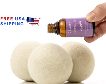 Bundle! 6 XL Wool Dryer Balls & Essential Lavender Oil - 100% Natural Fabric Softener - Organic Felted Wool Balls -  Dryer Sheets - Mom Gift