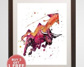 Bull Market Print, Stock Market watercolor, home arts, decor, cartoon kids children Illustration, Gift, Drawing, Financial Poster Y498