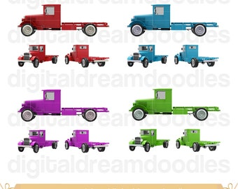 Old Truck Clipart, Flatbed Trucks Clip Art, Old Flatbed Truck PNG, Digital Construction Trucks PNG, Classic Truck Image, Old Trucks Download
