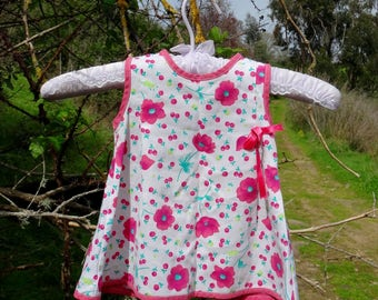 Baby girl dress floral sleeveless summer dress poppy poppies dress for a baby girl vintage 1960s size 9-12m