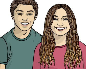 Custom completo Couple Portrait - custom portrait of couple