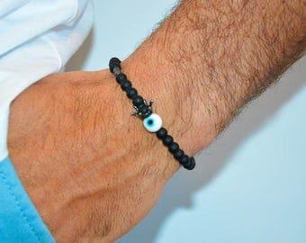Men's Evil Eye Bracelet, Men's Bracelet, Evil Eye Bracelet Men, Crowned Evil Eye Bracelet, Matte Black Bracelet, Men's Jewelry, Gift for Him