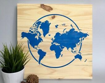 Wood Wall Art, World Map Painting, Travel Art, World Travel, Blue Map, Modern World Map, Travel the World, Map Décor, World Map Art, Home