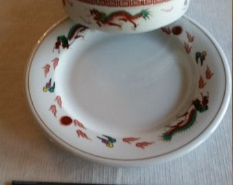 "2 vintage cathay dragon / serpent 7.5"" serving bowl from japan & 10.25"" dinner plate from guoguang china - kitchen dinnerware dish set"