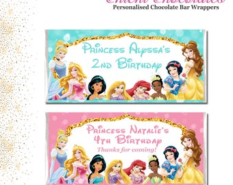 Disney Princess Chocolate Bar Wrappers. Digital or Printed.