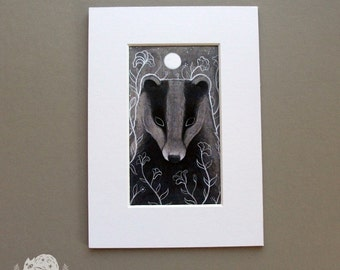 Full Moon // Midnight Badger // Matted Print in White