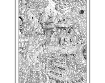 """The Airstones of Sool - GIANT 27""""x 38"""" Wildergorn Colouring Poster"""