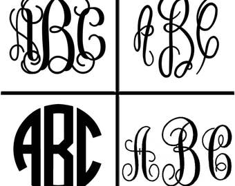 Four Monogram Embroidery Fonts, Multiple Sizes