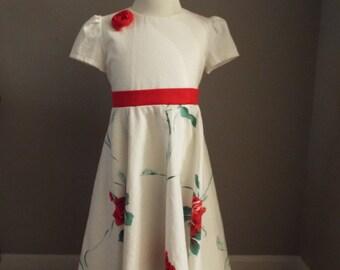 RED ROSE LINEN Dress Little Girls 6-7-8