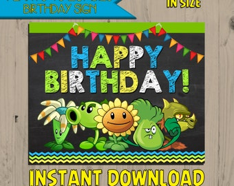 Plants vs Zombies Birthday Sign Chalkboard - INSTANT DOWNLOAD - Digital - Printable - DIY -