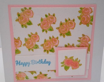 Hand colored Roses Birthday card for a lady - limited edition