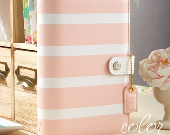 Blush Stipe Webster's Pages Binder, Color Crush Personal Planner Binder, Girls Planner, Bridal Shower Gift, Bridesmaids Gift, Baby Gift