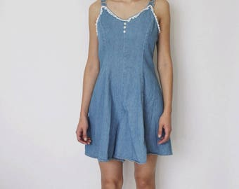 Vintage 1990s Denim Romper | 90s Denim Dress | Denim Jumper | Babydoll Dress |