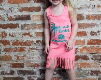 Beach Babe, Beach, Ocean, Infant, Toddler, Little Girls Fringe Dress in 5 Colors in Sizes 6 Months-6X