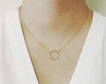 Ring Charm Necklace, Ring Pendant Necklace, Minimalist Necklace, 14K Solid Gold Necklace, Dainty Necklace