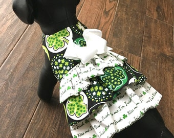Dog Dress, Dog Clothing, Dog Apparel, Dog St. Patricks Dress--Kiss Me Fabric