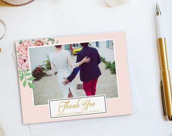 Wedding Thank You Card, Custom Photo Wedding Thank You Cards Gold Foil Wedding Thank You Cards Vintage Gold Foil Wedding Cards Katelyn2
