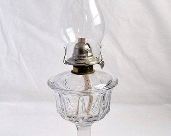 Large and Heavy Clear Glass Oil Lamp/ Vintage Oil Lamp with  faceted goblet with a flared trumpet base/Home Decor