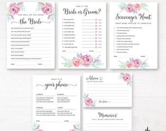 Editable Bachelorette Party Games / Floral Kitchen Tea Games / Bridal Shower Games / Editable Games / Bridal Game Pack / Hens night games