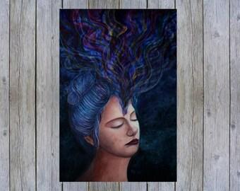 spiritual artwork , yoga art , third eye chakra , psychadelic , psychadelic art , portrait art , portrait painting , mixed media art ,