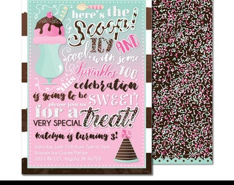 "Sprinkles and Scoops Digital Printable Girls Summer Sprinkles Ice Cream Parlour Sweet Shoppe Birthday Party 5x7"" Invitation PERSONALIZED"