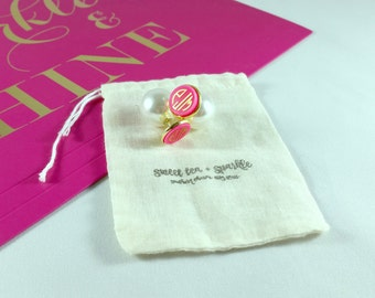 Pearl Back Gold Bezel Acrylic Monogram Earrings