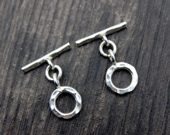 Sterling Silver Hammered Toggle Clasps, Round Toggle Clasp Set,Bracelet Clasp, Necklace Clasp