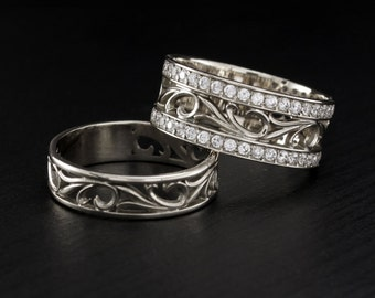 vintage style his and hers engagement rings his and her wedding band wedding ring - Unique Wedding Rings For Her