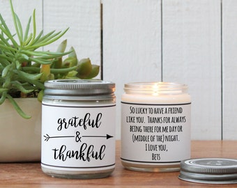 Grateful and Thankful Candle Gift - Thank You Gift | Appreciation Gift | Teacher Appreciation Gift | Candle Gift | Gift for Friend
