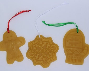 Hand Poured 100% Pure Beeswax Christmas Ornaments-Gingerbreadman, Snowflake & Mitten-Set of 3