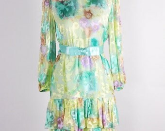 1960s/70s Pastel Burnout Velvet and Silk Party Dress/waist 28""