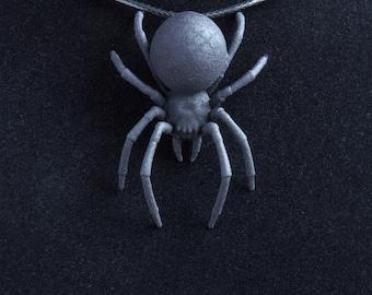 Black Widow pendant. Gothic jewellery, necklace pendant black widow spider