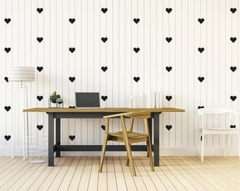 Heart Wall Decal set of 45, Heart wall Decals, Nursery Wall, Heart Wall Stickers, Love Wall Decal, Heart Wall Decor, Wall Decal