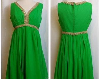 Bright Green 50s/60s Dress with Aurora Borealis Stones on trim!