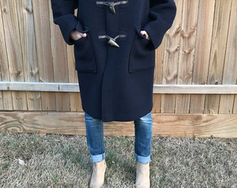 LL Bean Womens Wool Coat With Toggle Buttons, Vintage LL Bean, Navy Wool Coat, Vintage Navy Wool Coat