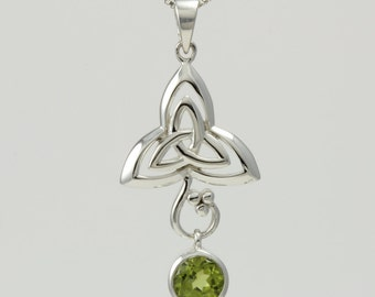 Celtic Knot Peridot Sterling Silver Necklace, Gemstone, Birthstone, Celtic Round Peridot, Infinity, Irish Pendant, 925 Silver, Unique Celtic