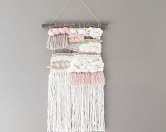 Woven wall hanging // MADE TO ORDER / Wall Hanging / Blush Pink Taupe Cream White Gold Neutral / Nursery Art / Home Decor / Boho / Wall Art