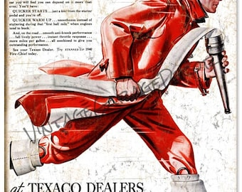 Reproduction Texaco Fire Chief Gasoline - Stepped-Up (1940) Surging Power Advertising Metal Sign (Rusted)